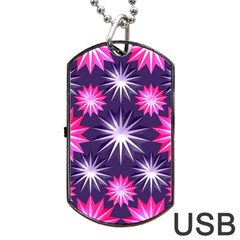 Stars Patterns Christmas Background Seamless Dog Tag USB Flash (Two Sides)