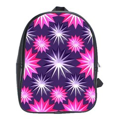 Stars Patterns Christmas Background Seamless School Bags (XL)