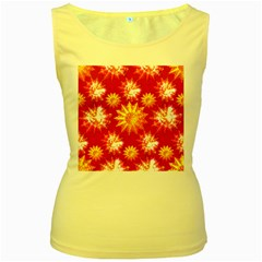 Stars Patterns Christmas Background Seamless Women s Yellow Tank Top