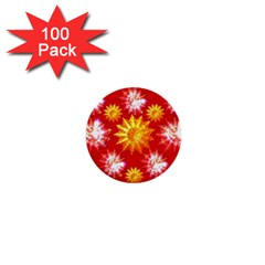 Stars Patterns Christmas Background Seamless 1  Mini Buttons (100 pack)