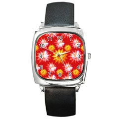 Stars Patterns Christmas Background Seamless Square Metal Watch