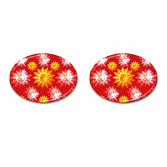 Stars Patterns Christmas Background Seamless Cufflinks (oval)