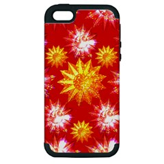Stars Patterns Christmas Background Seamless Apple Iphone 5 Hardshell Case (pc+silicone)