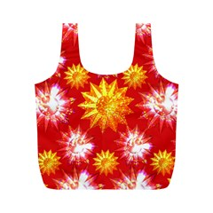 Stars Patterns Christmas Background Seamless Full Print Recycle Bags (m)