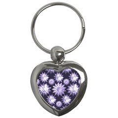Stars Patterns Christmas Background Seamless Key Chains (Heart)