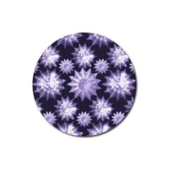 Stars Patterns Christmas Background Seamless Rubber Round Coaster (4 Pack)