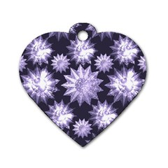 Stars Patterns Christmas Background Seamless Dog Tag Heart (two Sides)