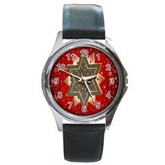 Star Wood Star Illuminated Round Metal Watch