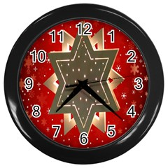Star Wood Star Illuminated Wall Clocks (Black)