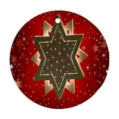 Star Wood Star Illuminated Round Ornament (Two Sides)