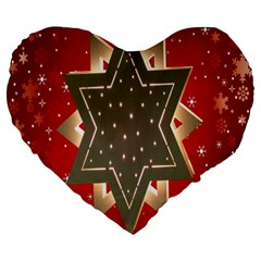 Star Wood Star Illuminated Large 19  Premium Heart Shape Cushions
