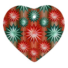 Stars Patterns Christmas Background Seamless Ornament (Heart)