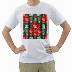 Stars Patterns Christmas Background Seamless Men s T Shirt (white) (two Sided)
