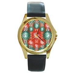 Stars Patterns Christmas Background Seamless Round Gold Metal Watch