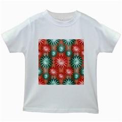 Stars Patterns Christmas Background Seamless Kids White T-Shirts