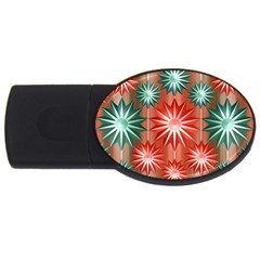 Stars Patterns Christmas Background Seamless USB Flash Drive Oval (2 GB)