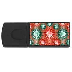 Stars Patterns Christmas Background Seamless USB Flash Drive Rectangular (1 GB)