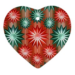 Stars Patterns Christmas Background Seamless Heart Ornament (two Sides)