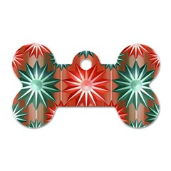 Stars Patterns Christmas Background Seamless Dog Tag Bone (Two Sides)