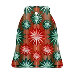 Stars Patterns Christmas Background Seamless Bell Ornament (Two Sides)