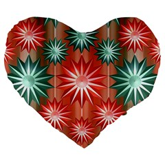 Stars Patterns Christmas Background Seamless Large 19  Premium Heart Shape Cushions