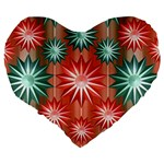 Stars Patterns Christmas Background Seamless Large 19  Premium Heart Shape Cushions Back