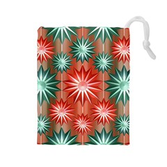 Stars Patterns Christmas Background Seamless Drawstring Pouches (large)