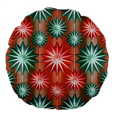 Stars Patterns Christmas Background Seamless Large 18  Premium Flano Round Cushions