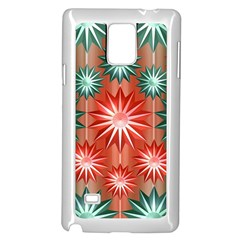 Stars Patterns Christmas Background Seamless Samsung Galaxy Note 4 Case (White)