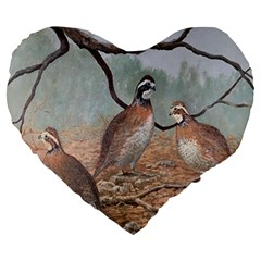 Bob White Quail Large 19  Premium Heart Shape Cushions