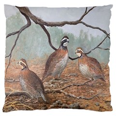 Bob White Quail Large Flano Cushion Case (one Side)