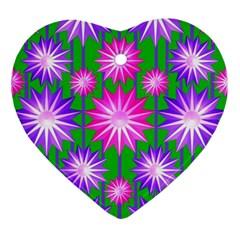 Stars Patterns Christmas Background Seamless Ornament (Heart)