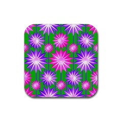 Stars Patterns Christmas Background Seamless Rubber Coaster (Square)