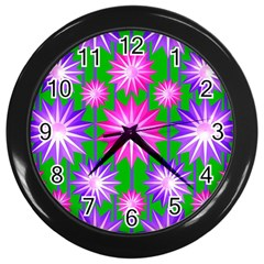 Stars Patterns Christmas Background Seamless Wall Clocks (Black)