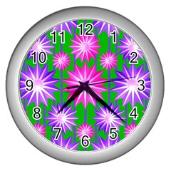 Stars Patterns Christmas Background Seamless Wall Clocks (Silver)