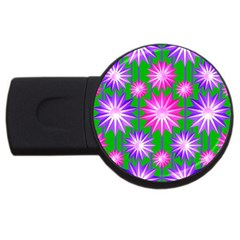 Stars Patterns Christmas Background Seamless USB Flash Drive Round (1 GB)