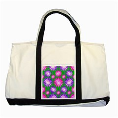 Stars Patterns Christmas Background Seamless Two Tone Tote Bag
