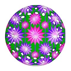 Stars Patterns Christmas Background Seamless Round Filigree Ornament (two Sides)