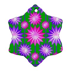 Stars Patterns Christmas Background Seamless Snowflake Ornament (Two Sides)
