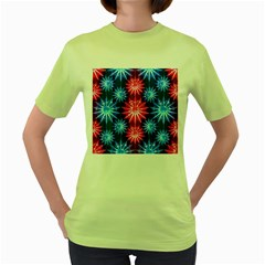 Stars Patterns Christmas Background Seamless Women s Green T Shirt