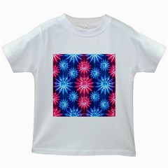 Stars Patterns Christmas Background Seamless Kids White T Shirts