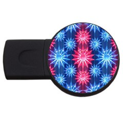 Stars Patterns Christmas Background Seamless USB Flash Drive Round (4 GB)