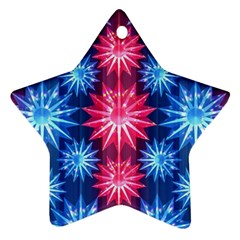 Stars Patterns Christmas Background Seamless Star Ornament (two Sides)