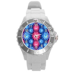 Stars Patterns Christmas Background Seamless Round Plastic Sport Watch (l)