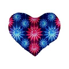 Stars Patterns Christmas Background Seamless Standard 16  Premium Flano Heart Shape Cushions
