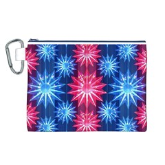 Stars Patterns Christmas Background Seamless Canvas Cosmetic Bag (l)