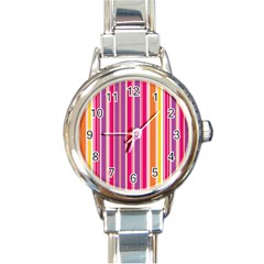 Stripes Colorful Background Pattern Round Italian Charm Watch