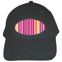 Stripes Colorful Background Pattern Black Cap