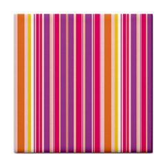 Stripes Colorful Background Pattern Tile Coasters