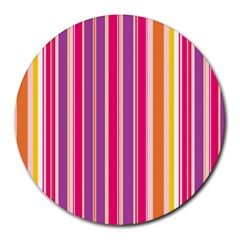 Stripes Colorful Background Pattern Round Mousepads